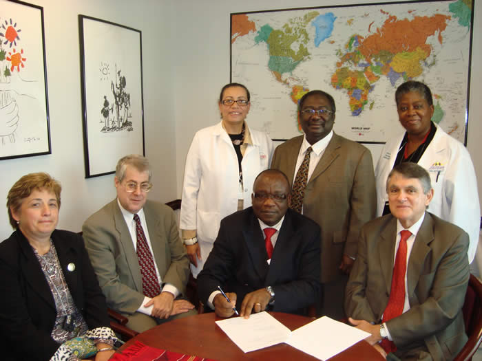 Dr. Yaw Bio with Dr. Javier Escobar and members of the Global Health Steering Committee